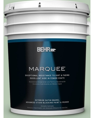 BEHR MARQUEE 5 gal. #S400-3 Healing Aloe Satin Enamel Exterior Paint and Primer in One