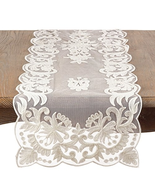"SARO LIFESTYLE Ivory Embroidered Table Runner, 16"" x 72"", Oblong"