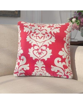 Darby Home Co Guglielmo Damask Cotton Throw Pillow DRBH3317 Color: Pink