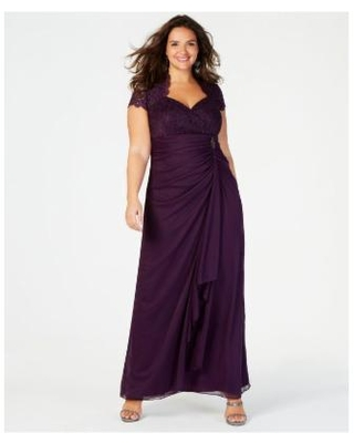 Plus Size Sequined-lace Ruched Gown - Purple - Betsy & Adam Dresses