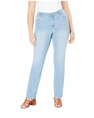 Plus Size Women's Straight-Leg Jean With Invisible Stretch By Denim 24/7 by Roaman's in Light Stonewash (Size 32 WP)