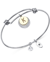 Unwritten Pave and Initial Disc Bangle Bracelet in Stainless Steel and Silver Plated