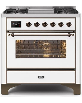 """UM09FDNS3WHB 36"""" Majestic II Series Dual Fuel Natural Gas Range with 6 Burners and Griddle 3.5 cu. ft. Oven Capacity TFT Oven Control Display"""