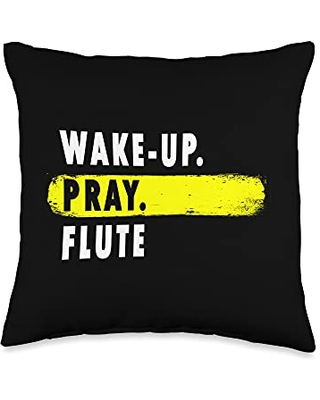 Deck't Out Prayer Gear Wake Up, Pray, Flute - Novelty Band Throw Pillow, 16x16, Multicolor