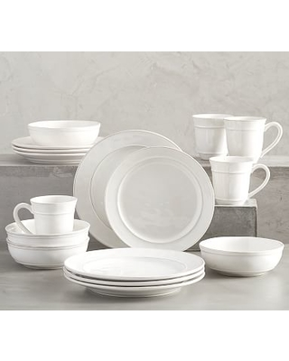 """Cambria Stoneware 16-Piece Dinnerware Set, 10 3/4"""" Dinner Plate with Soup Bowl - Stone"""