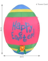 "The Holiday Aisle® Easter Egg Inflatable Decoration, Polyester in Blue/White, Size 46""H X 32""W X 32""D 