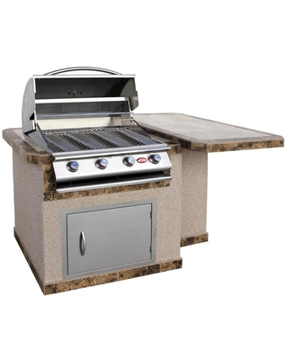 Cal Flame 74-in W x 45.25-in D x 42-in H Outdoor Kitchen Bar Counter with 4 Burners   LBK-402-A