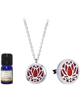 Anavia Women's Lotus Anniversary Gift for Her Wife Girlfriend Fiancee Essential Oil Diffuser Necklace & Car Clip Aromatherapy Jewelry Organic Essential Oil Jewelry Birthday Gift Set