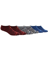 adidas Youth Kids-Boy's/Girl's Superlite No Show Socks (6-Pair), Active Maroon - Black Space Dye/Active Red Black - Whi, Large, (Shoe Size 3Y-9)