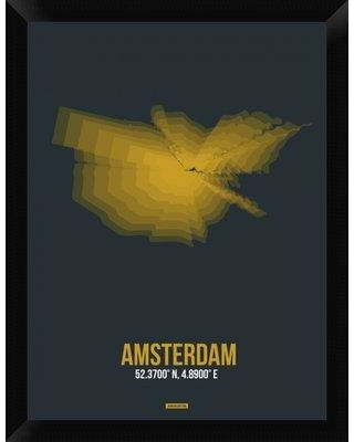 New Deal On Naxart Amsterdam Radiant Map 3 Framed Graphic Art Print On Canvas Canvas Fabric In Brown Yellow Gray Size 26 H X 20 W X 1 5 D Wayfair