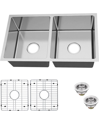 Glacier Bay Glacier Bay Undermount 18-Gauge Stainless Steel 31 in. 50/50  Double Bowl Kitchen Sink with Grid and Drain Assemblies, Silver from Home  ...