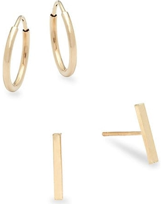 ff52e66bf Snag This Hot Sale! 60% Off Set of Two 14K Yellow Gold Bar Stud and ...