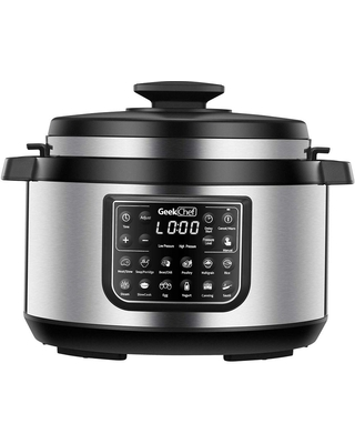 TAHAN INC 8.5 qt. Stainless Steel Electric Pressure Cooker with Aluminum Pot, Silver