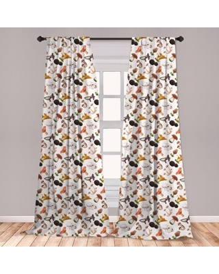 Ambesonne Mushroom Curtains, Realistic Style Various Kinds Of Fresh Toadstools Truffles Natural Lifestyle Cook, Window Treatments 2 Panel Set For Livi