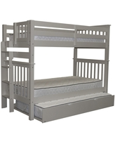 Bedz King Tall Mission Style Bunk Bed Twin over Twin with End Ladder and a Twin Trundle, Grey (Twin over Twin - Gray)