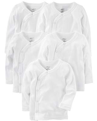 Simple Joys by Carter's Baby 5-Pack Side-Snap Long-Sleeve Shirt, White, Preemie
