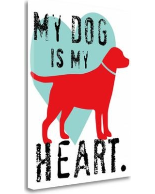"""Tangletown Fine Art 'My Dog is My Heart' Graphic Art Print on Wrapped Canvas ICO129D-1924c Size: 40"""" H x 31"""" W"""