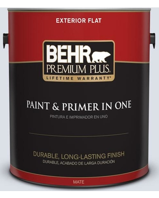 BEHR PREMIUM PLUS 1 gal. #PPL-70 Eastern Breeze Flat Exterior Paint and Primer in One