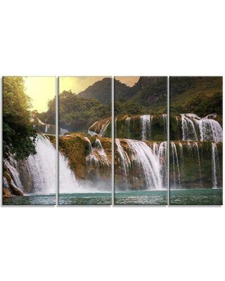 """Design Art 'Beautiful Waterfall in Vietnam' 4 Piece Photographic Print on Wrapped Canvas Set, Canvas & Fabric in Brown/Green, Size Medium 25""""-32"""""""