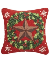 New Deals On The Holiday Aisle Brookdale Star Wreath Hook Wool Throw Pillow Wool Polyester Polyfill 100 Wool In Red Green Size 18x18 Wayfair