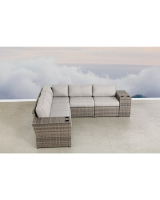 """Jewett 102"""" Wide Outdoor Wicker Symmetrical Patio Sectional with Cushions"""