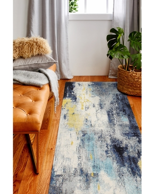 """Amos Transitional Machine Made Area Rug (Ivory/Blue 2'6"""" x 8' Runner)"""