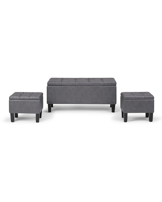 Brooklyn + Max Sea Mills 44 inch Wide Contemporary Rectangle Storage Ottoman in Stone Grey Faux Leather