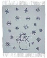 VHC Brands Happy Snowman Cotton Throw Blanket 26988 / 26990 Color: Navy/White