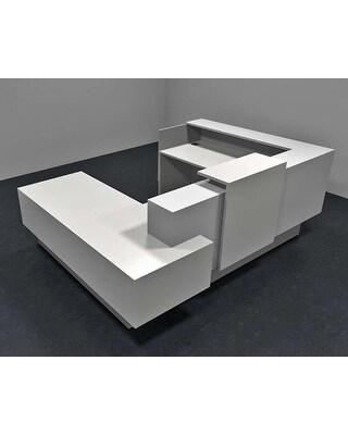 Announce Modern Office Reception Desk (Polar White - With Assembly)