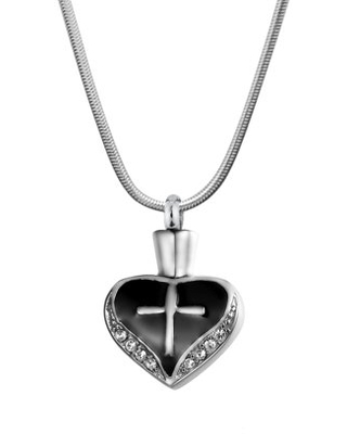 Cross on Heart Stainless Steel Ashes Keepsake Cremation Necklace for Ashes Memorial Jewelry with FREE Funnel Kit and Velvet Jewelry Box-[Black]