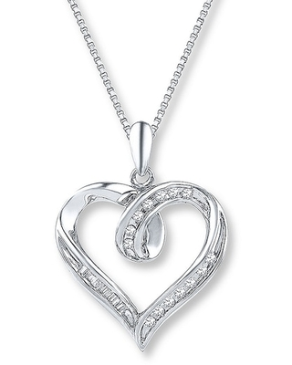 Jared The Galleria Of Jewelry Diamond Heart Necklace 1/8 ct tw Baguette/Round Sterling Silver