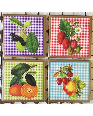 Coasters! Vintage style fruit coasters with gold trim
