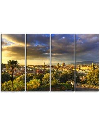 """Design Art 'Florence Sunset Aerial View' Photographic Print Multi-Piece Image on Canvas, Canvas & Fabric in Brown/Gray/Green, Size Medium 25""""-32"""""""