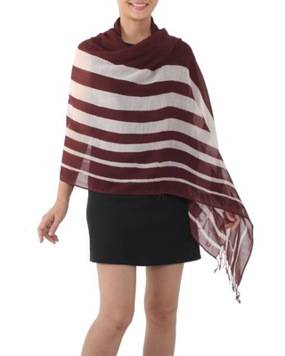 Handwoven Striped Cotton Shawl in Maroon from Thailand
