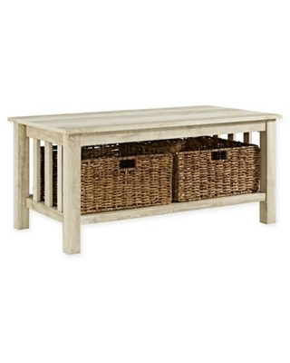 Forest Gate™ 40-Inch Contemporary Wood Coffee Table with Totes in White Oak