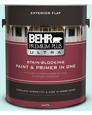 BEHR Premium Plus Ultra 1 gal. #510C-1 Ionic Sky Flat Exterior Paint and Primer in One