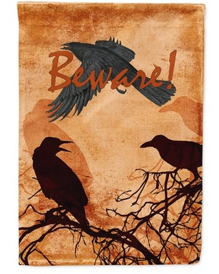 Beware of the Black Crows Halloween Flag Canvas House Size
