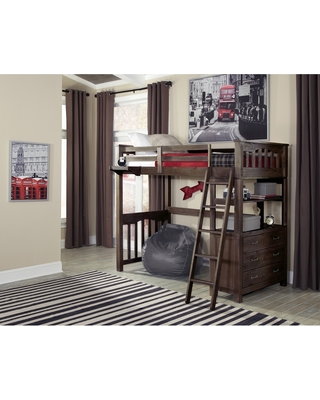 Highlands Loft Bed w/ Hanging Nightstand (Twin)