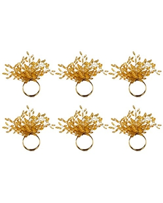 DII Modern Chic Fun Napkin Rings for Dinner Parties, Weddings Receptions, Family Gatherings, or Everyday Use, Set Your Table With Style - Starburst Gold Beads, Set of 6
