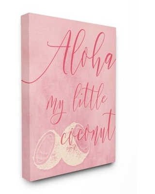 The Kids Room by Stupell Pink Aloha My Little Coconut Canvas Wall Art by Daphne Polselli