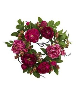 Nearly Natural Red Peony and Berry Wreath