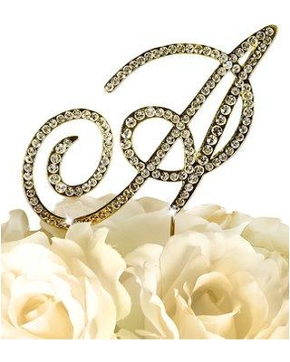 """Le Prise Rhinestone Letter Wedding Cake Topper W000794541 Color: Gold Size: 5.5'' x 2.5'' x 0.2"""" Letter: A"""