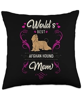 Rasocity World's Best Afghan Hound Mom Dog Breed Owner Throw Pillow, 18x18, Multicolor