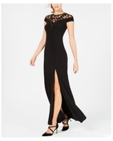 Adrianna Papell Sequin-Illusion Slit Gown - Black