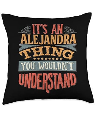 Funny Name Gifts By Maria Alejandra Name Throw Pillow, 18x18, Multicolor