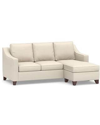 Cameron Slope Arm Upholstered Sofa with Reversible Chaise Sectional, Polyester Wrapped Cushions, Sunbrella(R) Performance Sahara Weave Ivory