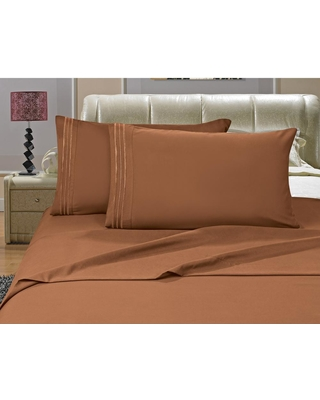 Elegant Comfort 1500 Series 4-Piece Bronze Triple Marrow Embroidered Pillowcases Microfiber Full Size Light Brown-Bed Sheet Set, Blues