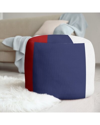 """20.5"""" Round Pouf East Urban Home Fabric: Red/Blue/White"""
