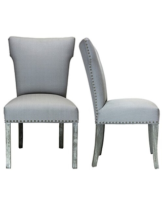 Sole Designs Bella Upholstered Wingback Dining Side Chair with Nailhead Trim, Platinum