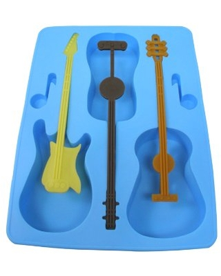 Acoustic Electric Guitar Ice Cube Tray Mold w/Stirrers Novelty Joke White Elephant Music Gift